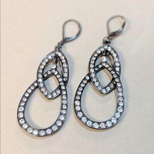Gunmetal and Rhinestones Dangle Earrings